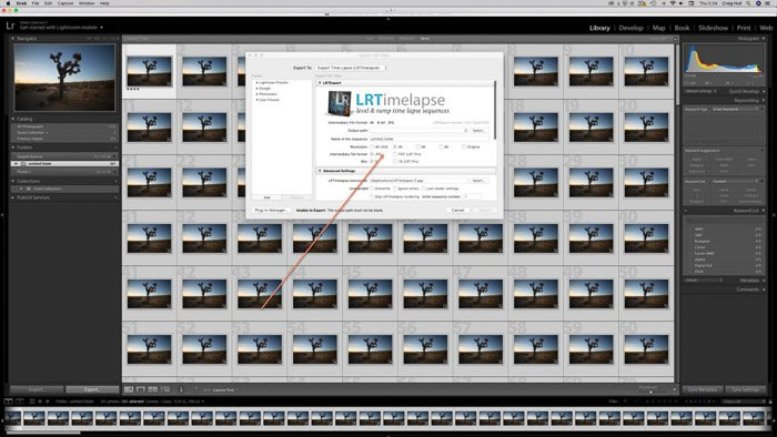 Screenshot of exporting final time lapse photography images