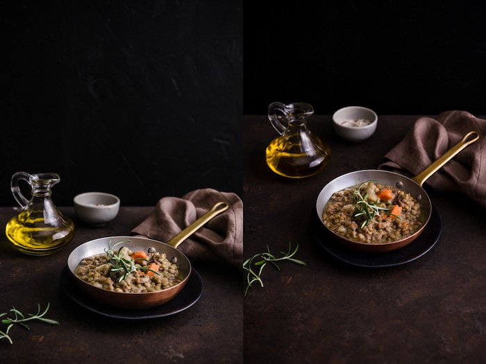 Mystic Light Food Photography Diptych of a pan of food with oil, small bowls and towel on dark colored tabletop