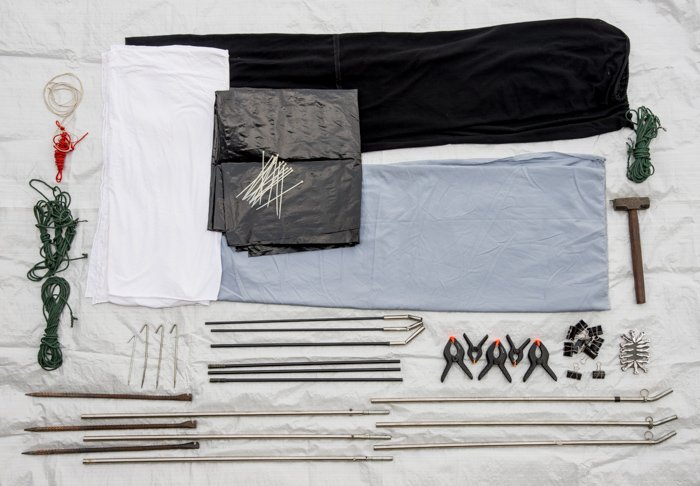 Photo of the materials needed to set up a natural light outdoor studio.
