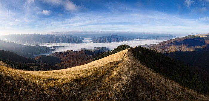 A majestic mountainous landscape panorama