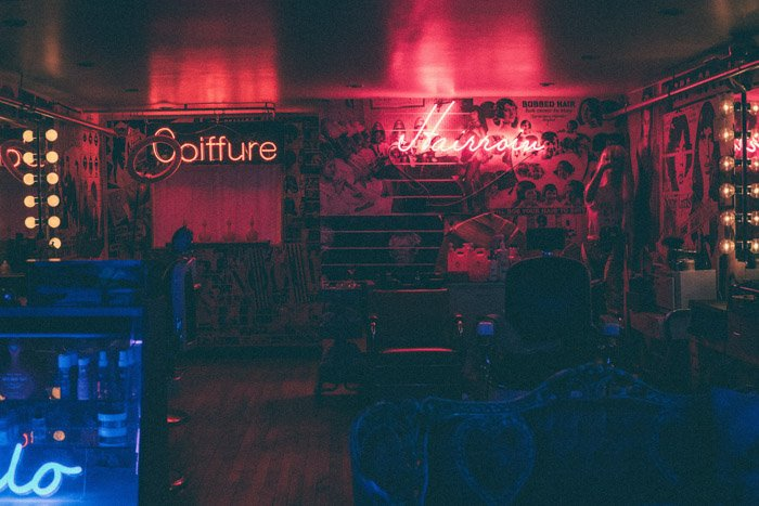 A grainy low light interior shot of a nightclub