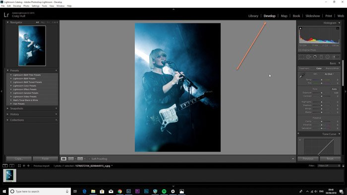 Screenshop of the develp module on Lightroom for photo retouching