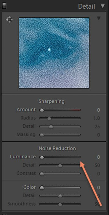 Screenshop of the noise reduction setting on Lightroom for photo retouching