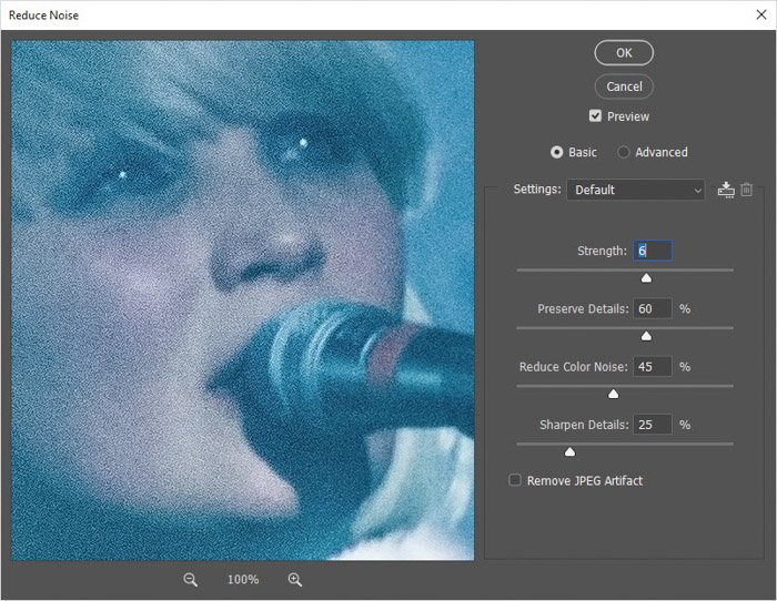 Photoshop interface showing opening noise reduction on selected grainy image for photo retouching