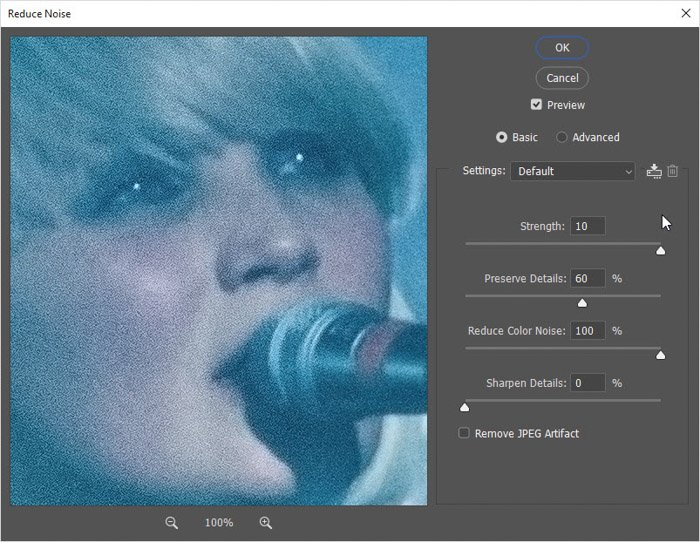 Screenshop of how to adjust the three sliders –Strength,Reduce Color Noise, andSharpen Detailson Photoshop for photo retouching
