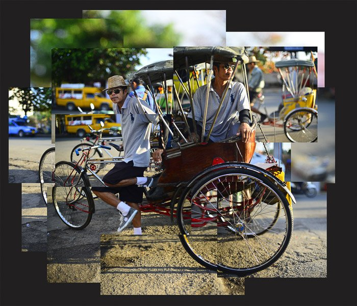 A photomontage composite of a tricycle taxi and rider in Chiang Mai, Thailand.