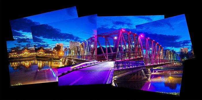 A photomontage of Chiang Mai's historic Iron Bridge in the evening