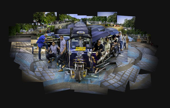 A photomontage of a tuktuk full of people which is bent out of shape and displayed in a very cubist manner.