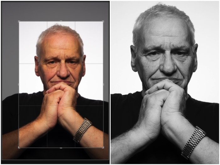 A two photo diptych showing cropping a coloured portrait of a man and converting to black and white for the Platon photography style