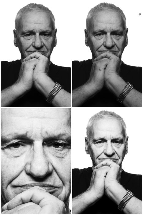 A four photo black and white portrait grid, in clockwise order, the results from (i) whitening the background, (ii) darkening the forearms, (iii) brighten the image and boost contrast and, finally, (iv) dodging and sharpening the eyes. to create a Platon style photography portrait.