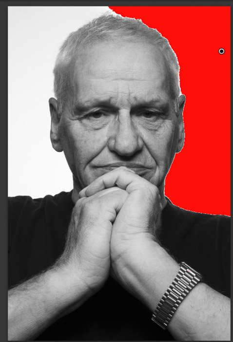 Creating a white background for a black and white portrait of a man in the Platon photography style