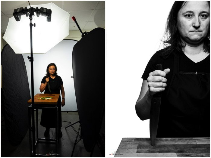 Photographers diptych showing the virtual setup and the resulting image. Platon photography.