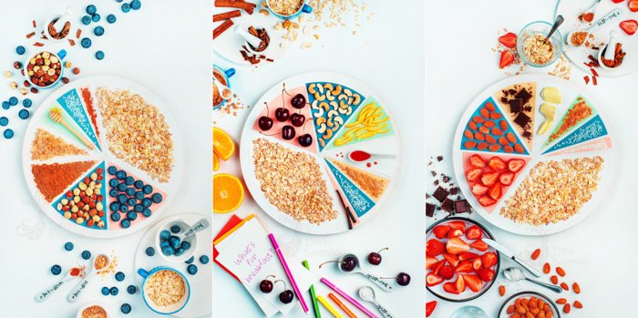 Overhead phot of fun food photography on white background - a pie chart of cereals and fruits