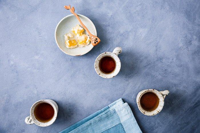 still life photo of tea cups on a table