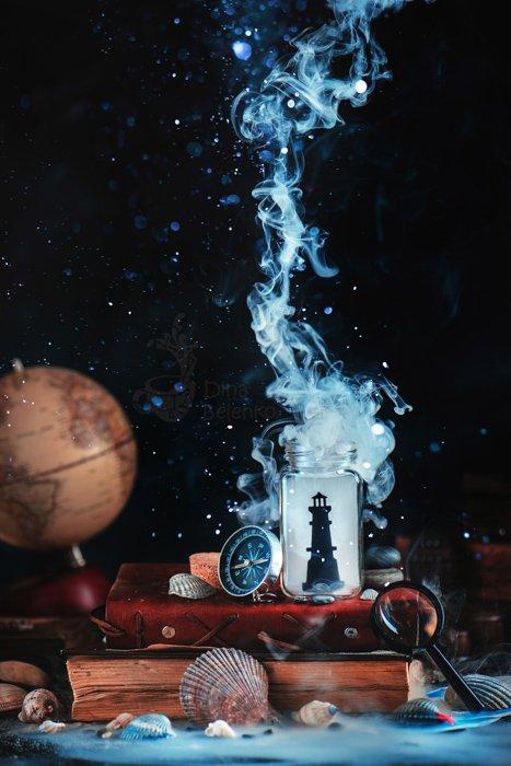 Mysterious still life photography ideas arrangement on dark background