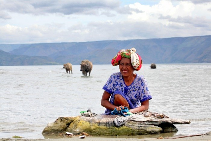 Travel photography of a woman washing clothes in the sea with cows in the background- travel photography checklist.