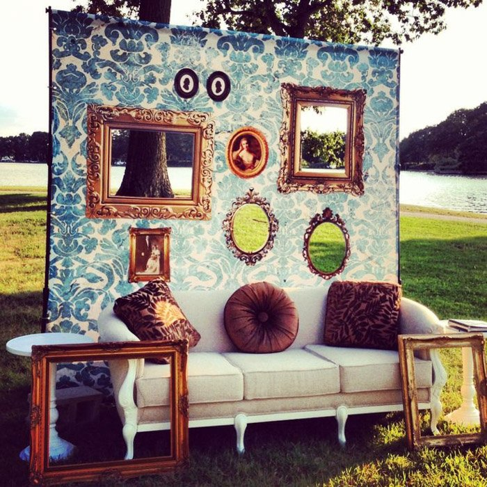 an image of a faux framed wall wedding photo booth