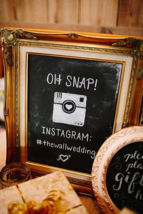 an image of a framed instagram wedding hashtag