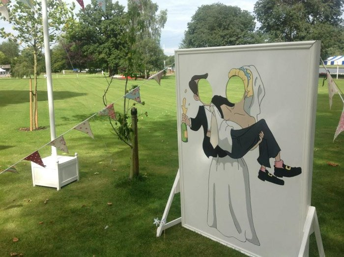 an image of an empty wedding photography stand up board