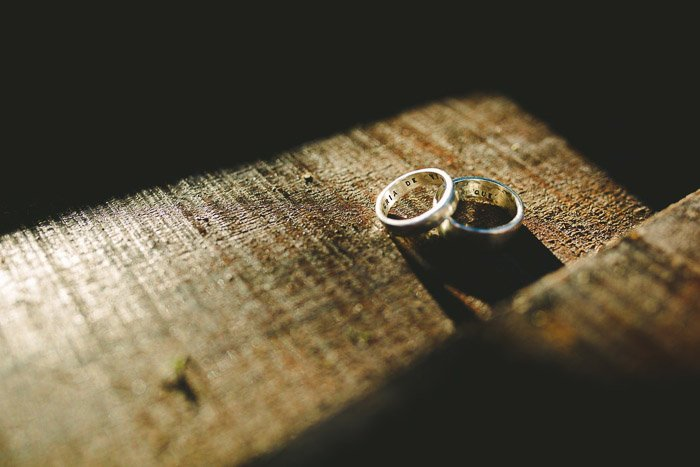 A close up photo of wedding rings on a table.