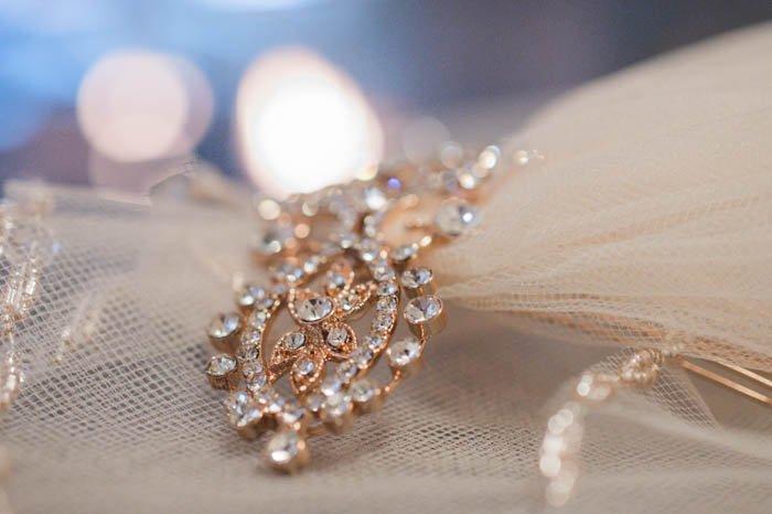Close up photo of a detail of a wedding veil