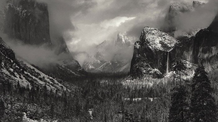 Ansel Adams black-and-white landscape photograph of the American West landscape - most famous photographers