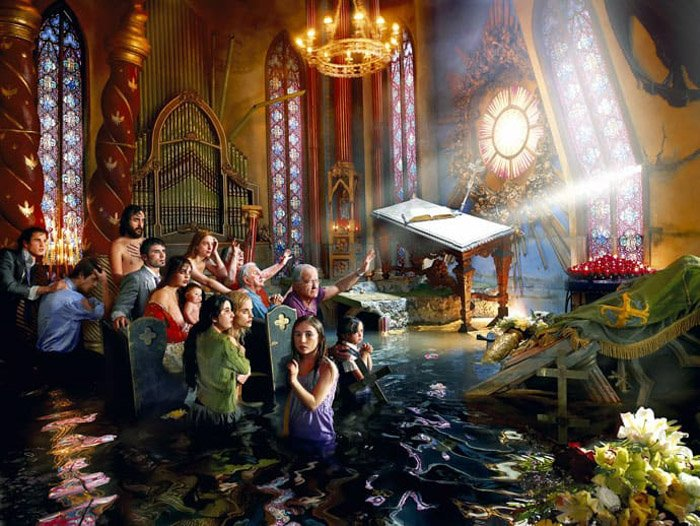 David LaChapelle hype realistic shot of a flooded church