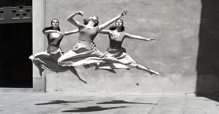 Imogen Cunningham photo of three female dancers in mid air