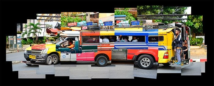 A photo montage of a brightly colored van comprised of many singular photos