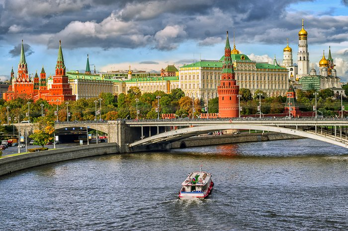Beautiful city photography shot from the centre of a river