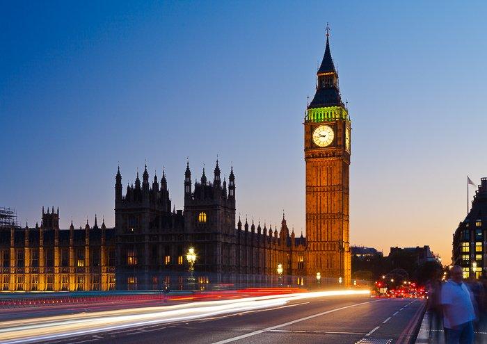Atmospheric long exposure night cityscape of Londons Big Benm taken from Westminster bridge