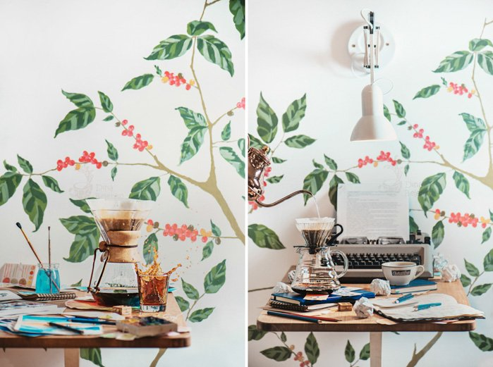 Bright and airy still life diptych of coffee equipment on a wooden desk with other props