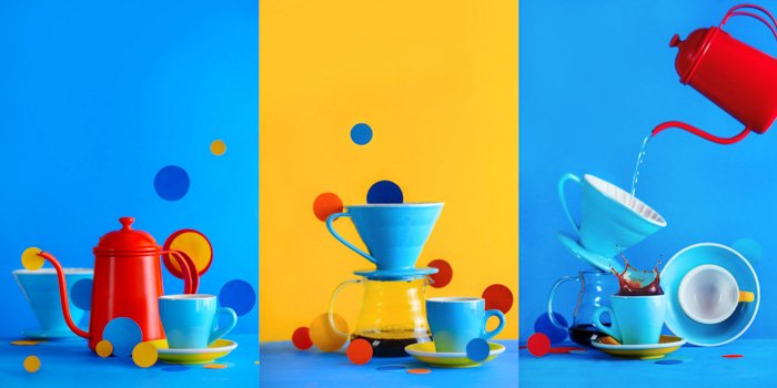 Fun pictures of coffee brewing equipment triptych on bright blue and yellow background