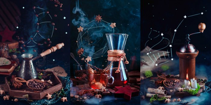 Magical still life of coffee brewing equipment triptych on dark background