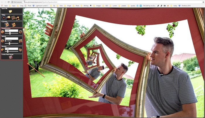 Screenshot of editing in Photospiralysis
