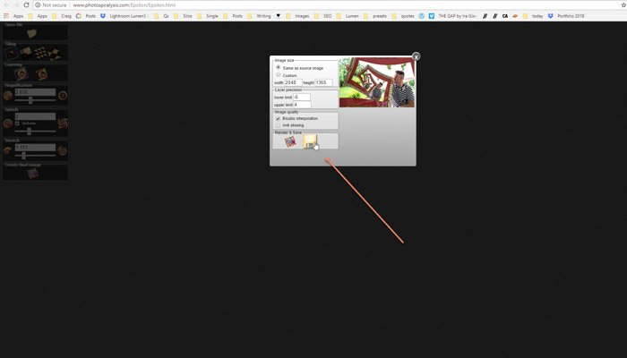 Screenshot of saving an image in Photospiralysis
