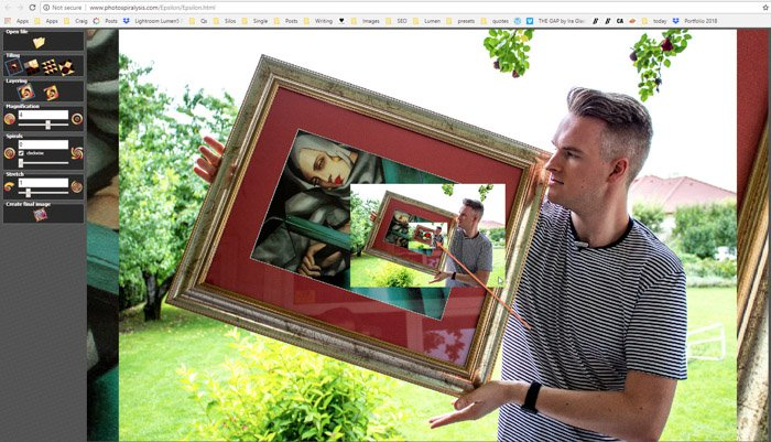 Screenshot of step three of creating a droste effect photo on Photospiralysis