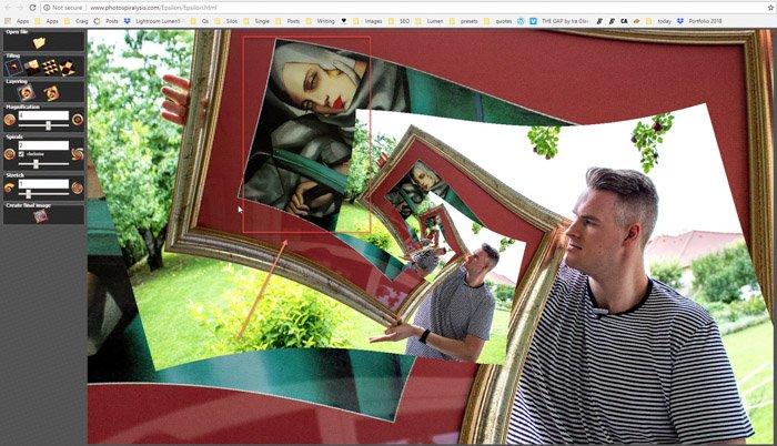 Screenshot of step five on Photospiralysis
