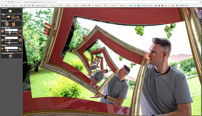Screenshot of image placement on Photospiralysis to create a droste effect photo