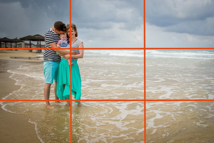 A couple with a small baby posing on a beach with rule of thirds grid line overlayed - family picture ideas