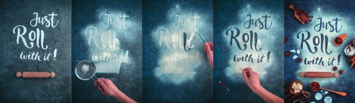 A 5 photo progression of creating a cool food art shot featuring the typography message 'just roll with it'.