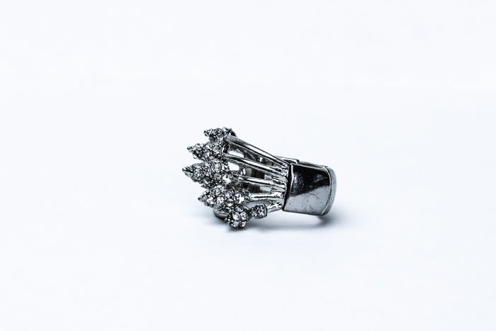 A product image close up of a silver ring