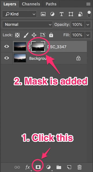 Screenshot of adding mask to create basic luminosity masks with just one click