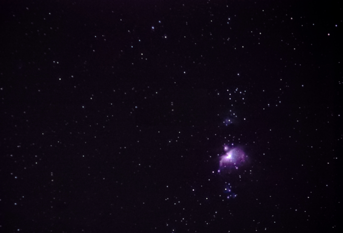 a night sky photography shot of M42 on fix tripod. Olympus OM-D EM-10, 150mm, f/4, 3.2 seconds, stack of 50 images.