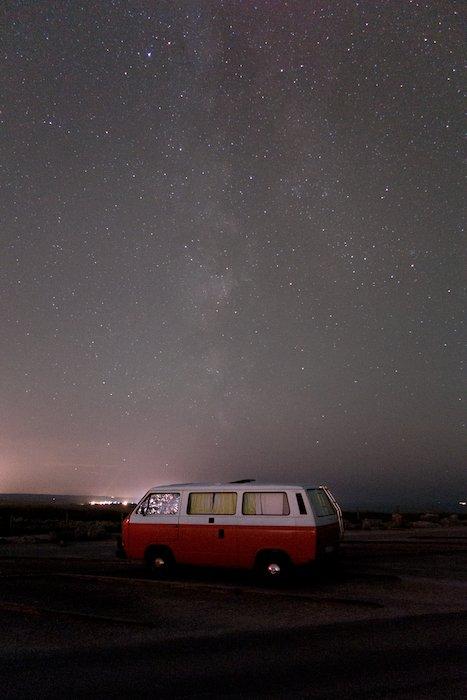 Image of a red camper van parked under an impressive starry sky