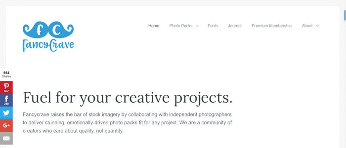 Screenshot of Fancy Crave homepage/search bar - Best Stock Photo sites