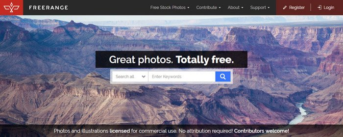 Screenshot of Freerange homepage/search bar - Best Stock Photo sites