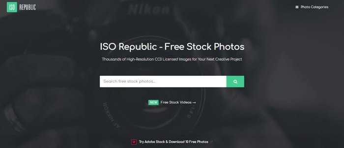Screenshot of ISO republic homepage/search bar - Best Stock Photo sites