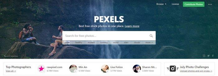 Screenshot of Pexels homepage/search bar