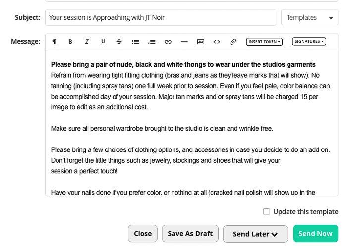 Email correspondence regarding a boudoir shoot